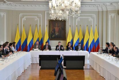 Aspecto de la reunión entre gobernadores y el presidente Santos.