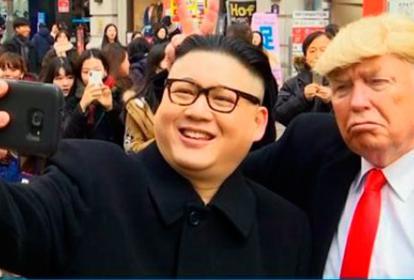 Los dobles de Kim Jong Un y de Donald Trump.