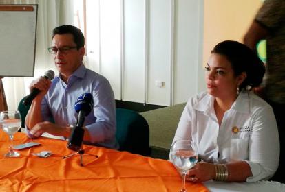 Carlos Caicedo durante una rueda de prensa en Córdoba.
