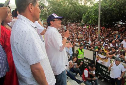 El candidato a la Presidencia, Gustavo Petro, durante la concentración del sábado en Sincelejo.