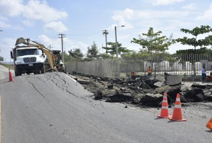 Carretera Mamomal-Gambote, tras el fenómeno.