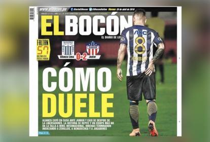 La portada del diario El Bocón, el periódico que más despliegue le dio en su primera página al juego entre Junior y Alianza Lima.