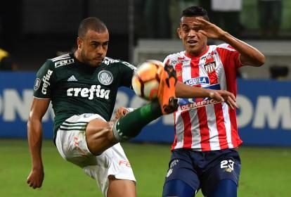 Acción del partido que Palmeiras y Junior disputaron en el Allianz Parque, de Sao Paulo.