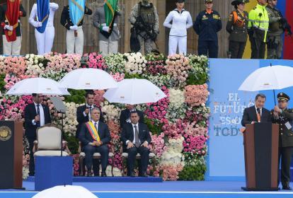 Ernesto Macías Tovar, presidente del Senado, durante su intervención en la posesión del presidente Duque.