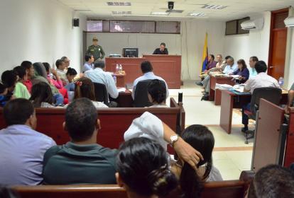 Aspecto de la audiencia que se adelantó en la capital del Cesar con la presencia de los 10 implicados en este caso.
