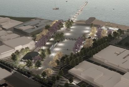 Render de lo que será la gran plaza de Puerto Colombia que construirá la Gobernación del Atlántico.