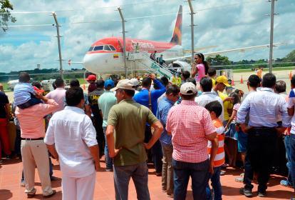 La aeronave de Avianca al momento de su arribo.
