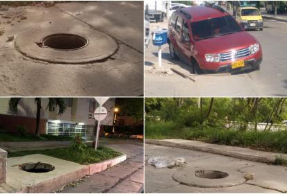 Huecos en diferentes puntos de Barranquilla.