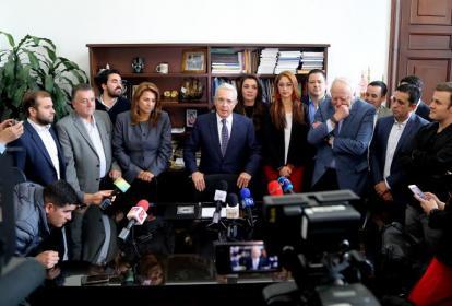 Bancada del Centro Democrático encabezada por el senador Álvaro Uribe.