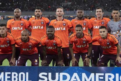 El Atlético Paranaense formado, previo al segundo duelo de la semifinal ante el Fluminense.