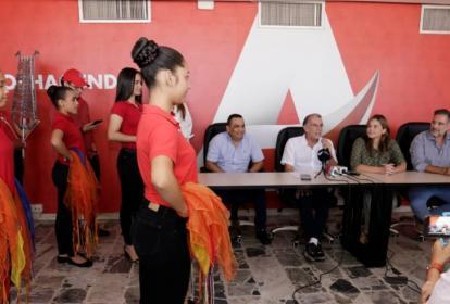 Integrantes de la Banda Departamental de Baranoa durante la presentación de este jueves.