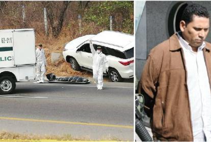 Escena del ataque sicarial en el que perdió la vida José Benito Villarreal Ramírez, alias 'Echeverry' (en la imagen de la derecha).