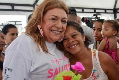 La primera gestora, de Soledad, Alba Olaya de Herrera, durante la jornada de Salutón.
