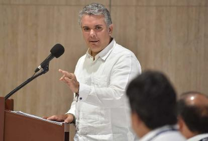 Iván Duque Márquez, presidente de Colombia, durante discurso sobre grupos armados en su vista a Córdoba.