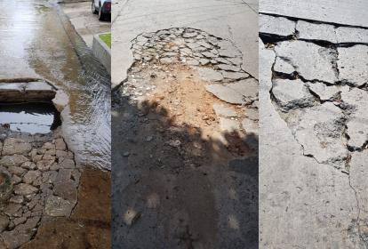 """Así lucen los """"cráteres"""" peligrosos de las calles 79 y 80. El primero se socavó con la lluvia de meses atrás, la comunidad debió rellenarlo de escombros para evitar accidentes."""