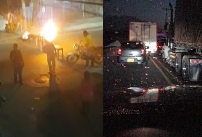 Comunidad en La Sierrita bloqueó la vía. Paro en Tasajera en la noche del martes.
