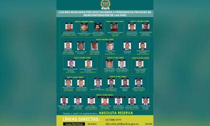 Esta es la lista de los más buscados por crímenes contra reincorporados de Farc