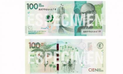Así lucirá el billete de 100.000 pesos.
