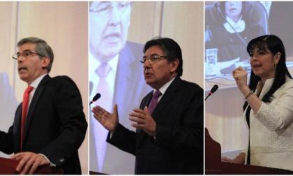 Los ternados Yesid Reyes, Mónica Cifuentes y Néstor Humberto Martínez, durante la audiencia en la Corte Suprema.