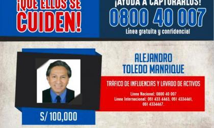Aviso de búsqueda y recompensa que el Ministerio del Interior del Perú puso en su página web en procura de información sobre el exmandatario Alejandro Toledo.
