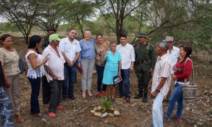 La embajadora Marie Anderson escuchó los testimonios de las 44 familias desplazadas por el frente Pivijay de las Auc y después de un recorrido por la zona sembró, junto con las víctimas, una planta de Crotón en símbolo del compromiso para la reconstrucción del pueblo destruido.