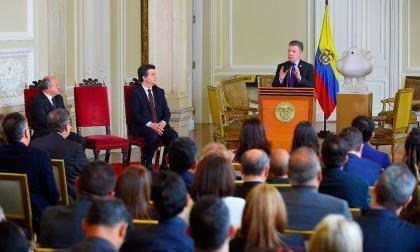 El presidente Santos durante la presentación de la Comisión de aforados.