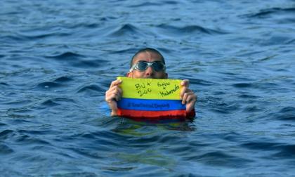 Mauricio Salazar cumplió su segundo reto en el mar Mediterráneo