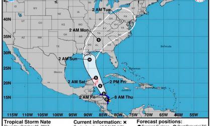 Tormenta tropical Nate cruza sobre San Andrés