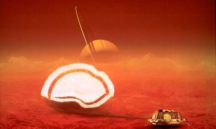 Representación de la sonda Huygens durante su llegada a Titán, en la órbita de Saturno.