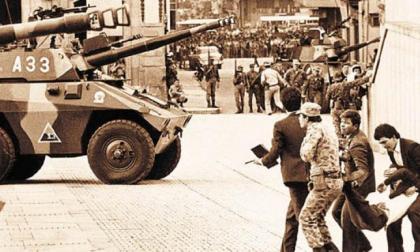 La toma del Palacio de Justicia el 6 de noviembre de 1985 en Bogotá.