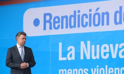 El presidente Santos durante la rendición de cuentas del Ministerio de Defensa.