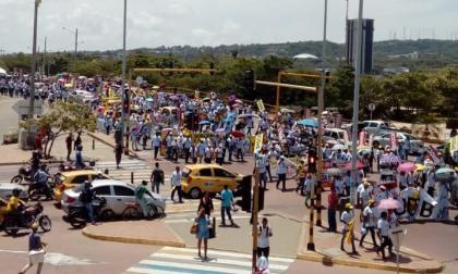 Panorámica de la manifestación de los docentes de la Región Caribe en Cartagena, donde se concentraron.