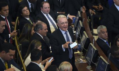 Álvaro Uribe Vélez en la posesión del nuevo Congreso de la República.
