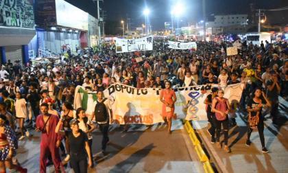 Marcha en la capital de Bolívar.