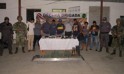 Nueve personas capturadas con armamento de uso privativo de las fuerzas militares