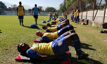 Los jugadores del Real Cartagena desarrollando la pretemporada en Medellín.