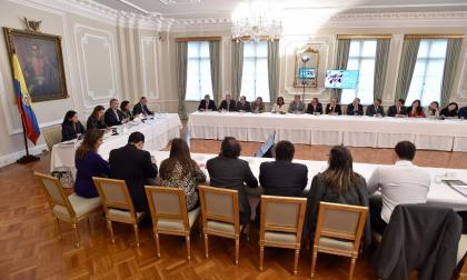 Aspecto de la reunión del presidente Iván Duque con la bancada del partido de La U.
