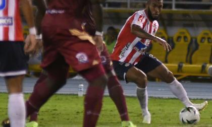Fredy Hinestroza durante el juego contra Deportes Tolima en Barranquilla.
