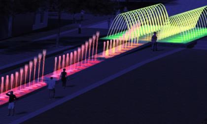 Render de la fuente luminosa que estará en la Plaza.