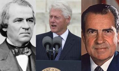Andrew Johnson, Bill Clinton y el republicano Richard Nixon.