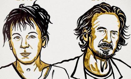 Ilustración de Olga Tokarczuk y Peter Handke.