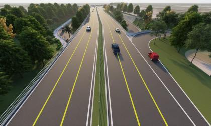 Render de la vía que se construirá para interconectar el nuevo puente Pumarejo.