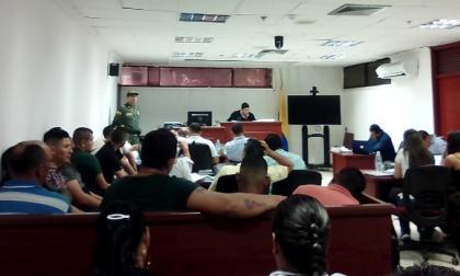 La audiencia contra los policías ayer en Valledupar.