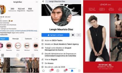 Los perfiles de Lengir Díaz en las redes sociales.
