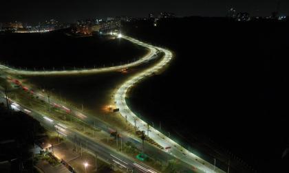 Foto tomada con dron en la que se observa la vía que conecta con la Circunvalar.
