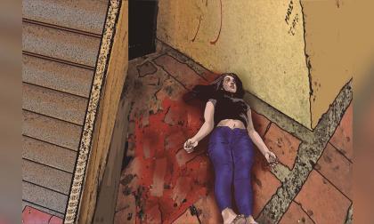 Ilustración creada con base en las imágenes del lugar en el que fue hallada la estudiante Madelayne Sofía Ortega Villa y los testimonios de testigos del caso.