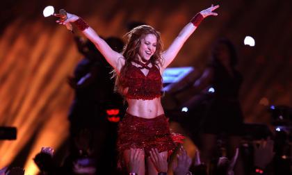 Shakira durante su presentación en el show de medio tiempo del Super Bowl 2020.
