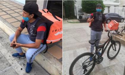 Yorman lamenta el robo de su cicla (i). William le entrega otra bicicleta al joven rappitendero (d).