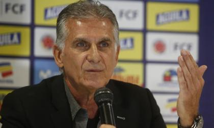 Carlos Queiroz durante una conferencia de prensa con la Selección Colombia.
