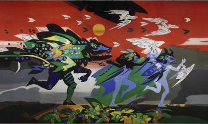 'Se va el caimán', tela tensada sobre un bastidor de 20 metros cuadrados. Está inspirada en una leyenda del Caribe colombiano.